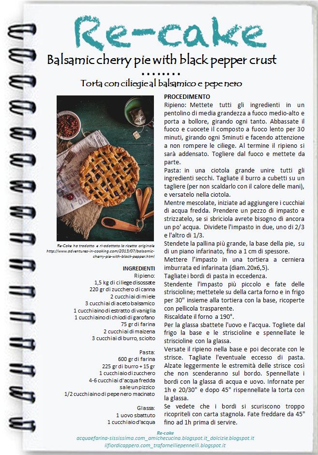"""re Balsamic Cherry pie with Black pepper & Cocoa crust (la mia """"non"""" Re-Cake!)"""