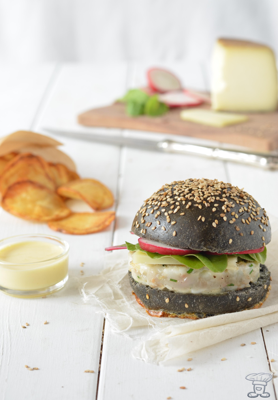 DSC_0362 Burger al nero, maionese alla vaniglia, orata, red chard e ravanello croccante