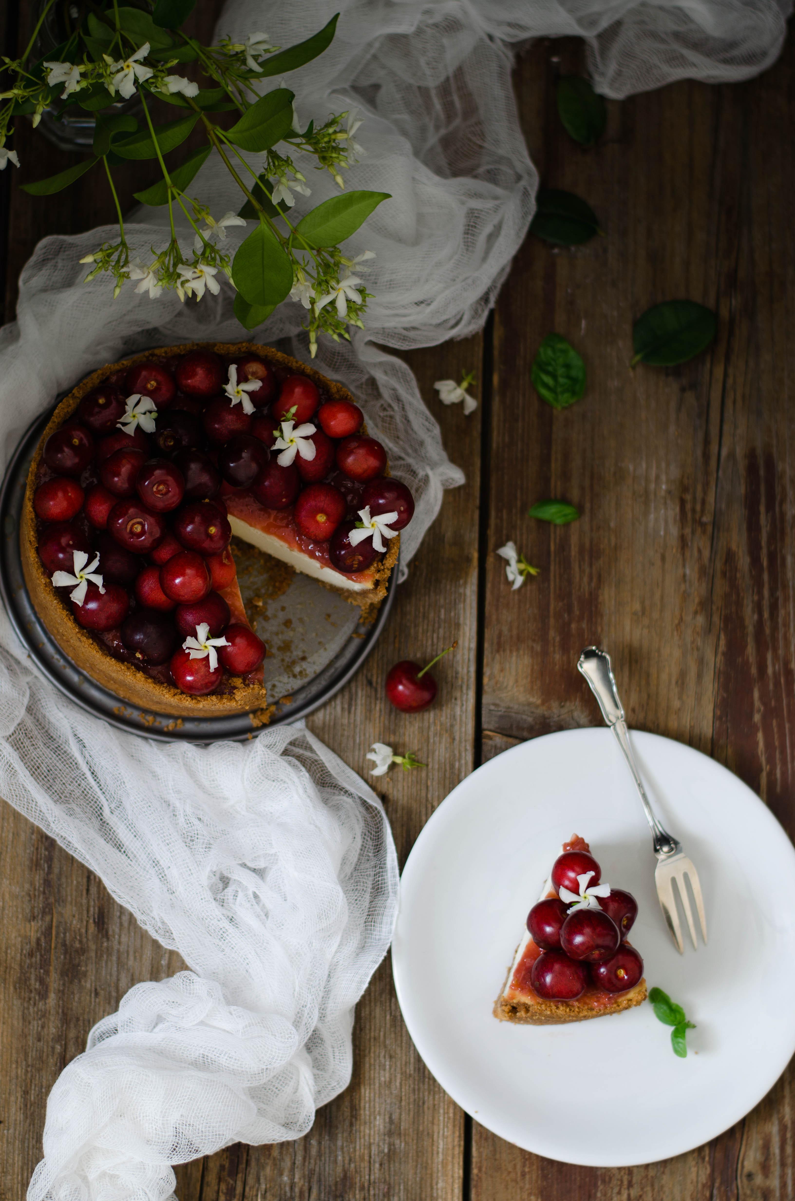 Cheesecake_ciliegie_basilico_amaretto1 Cheesecake ciliegie, basilico ed amaretto