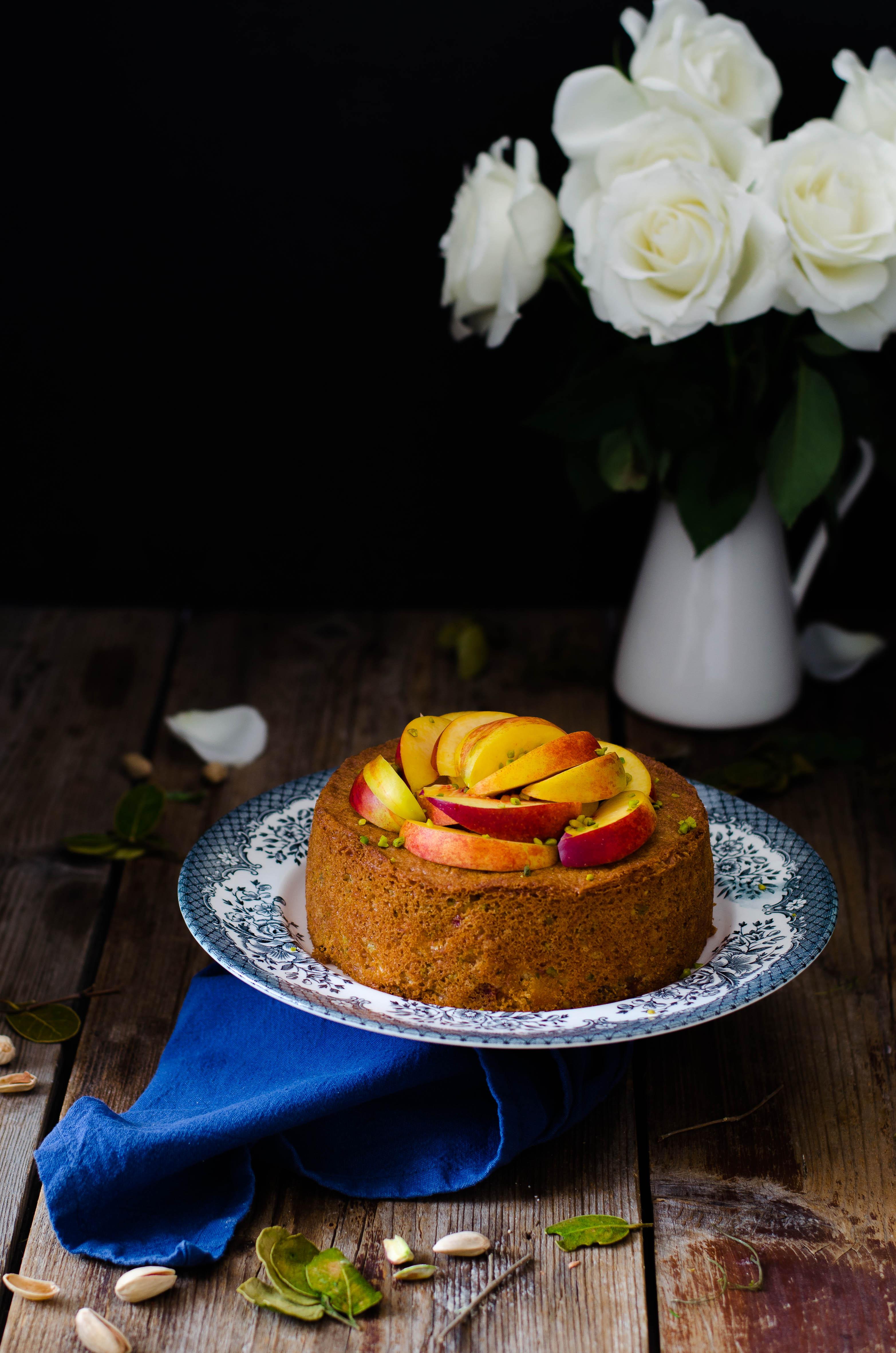torta_pesche_pistacchi1 Torta di pesche e pistacchi