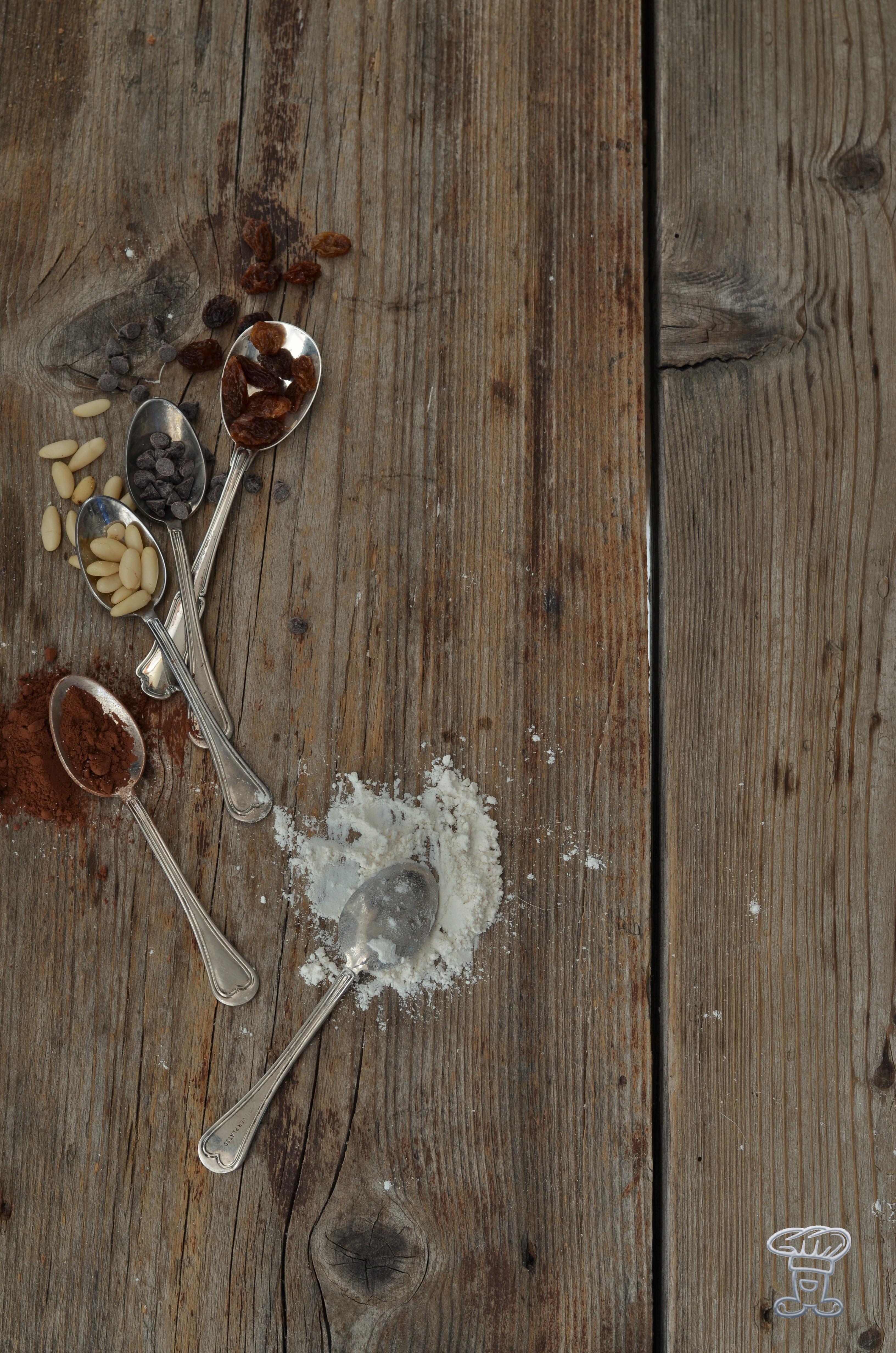 ingred_cioc__0093 Brioche lievitata al cioccolato, uvetta e pinoli