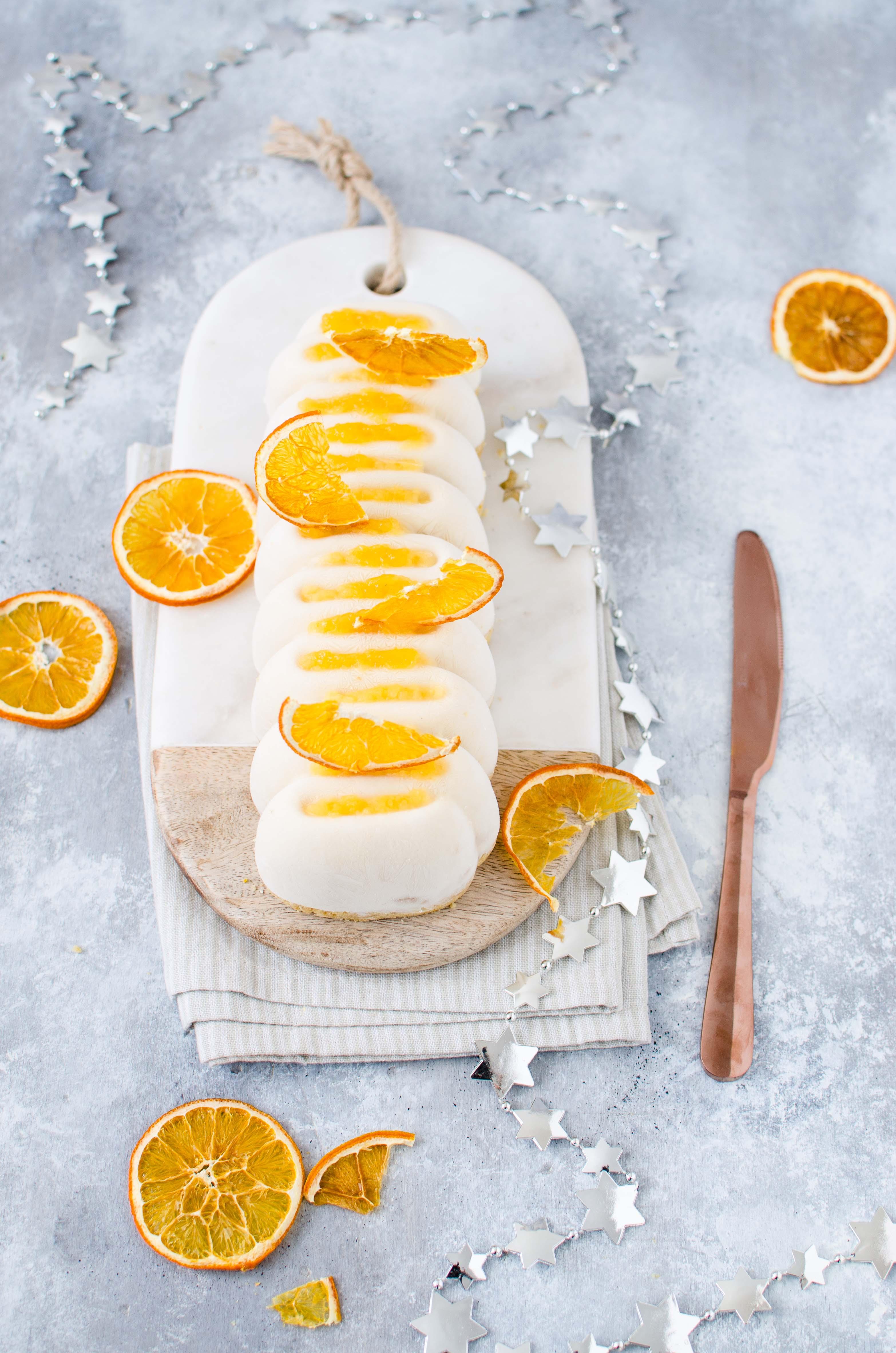 tronchetto-senza-lattosio-arancia Tronchetto di gelato alle mandorle con gelée all'arancia