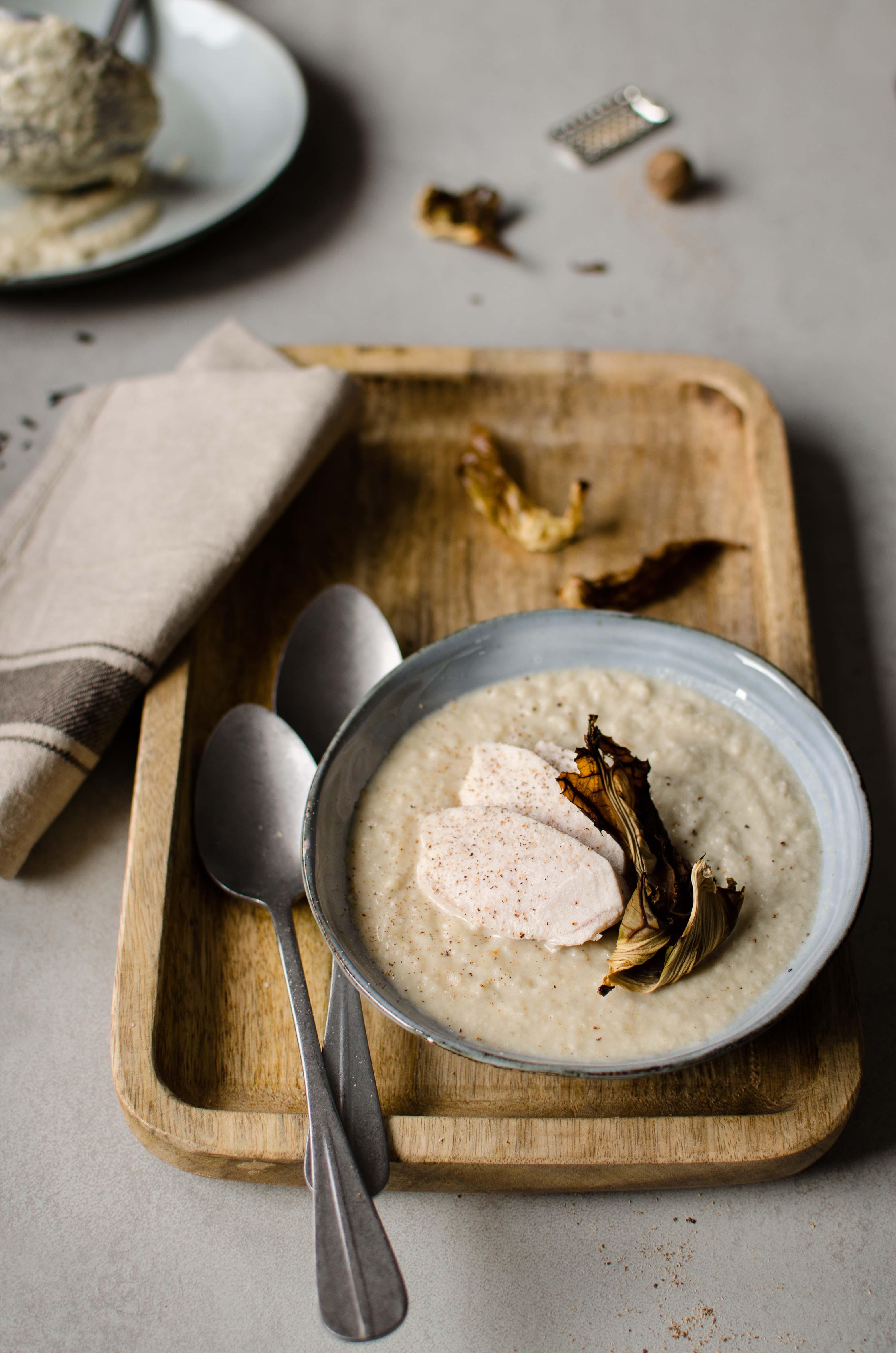 zuppa-cavolfiore-arrosto Zuppa di cavolfiore e pollo affumicato